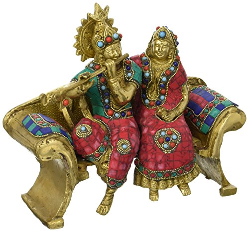 "8"" Beautiful Radha krishna Brass Sculpture Wedding Gift - Radha Krishna Statue - Symbol of Love Hindu Pair God & Goddess - Best Anniversary Gift"