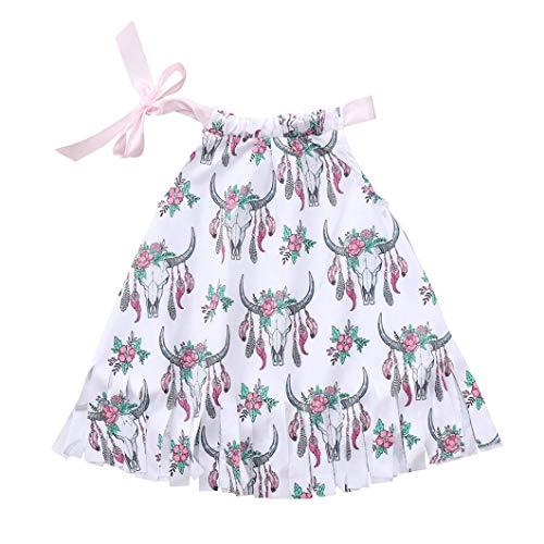 Summer Infant Baby Girls Sleeveless Animal Cartoon Vibrant Print Tassels Chic Tops Clothes (White, 100) ()