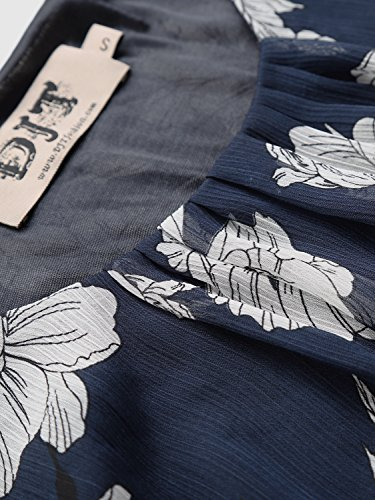 Tops 2 doux Djt Manches Femme Blouse Chemisier Imprime T Shirt tulle Bleu en longues fleur SSY6n