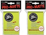 100 Ultra Pro Bright Yellow PRO-MATTE Deck Protectors Sleeves Standard MTG Colors