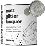 Hemway Silver and Gold Holographic Glitter Matt Varnish Lacquer Quick Dry Sparkling Glaze Interior Exterior, Furniture, Accessories, Brick, Wood, Stone, Plaster, Plastic, Tiles (1 Litre/Quart)