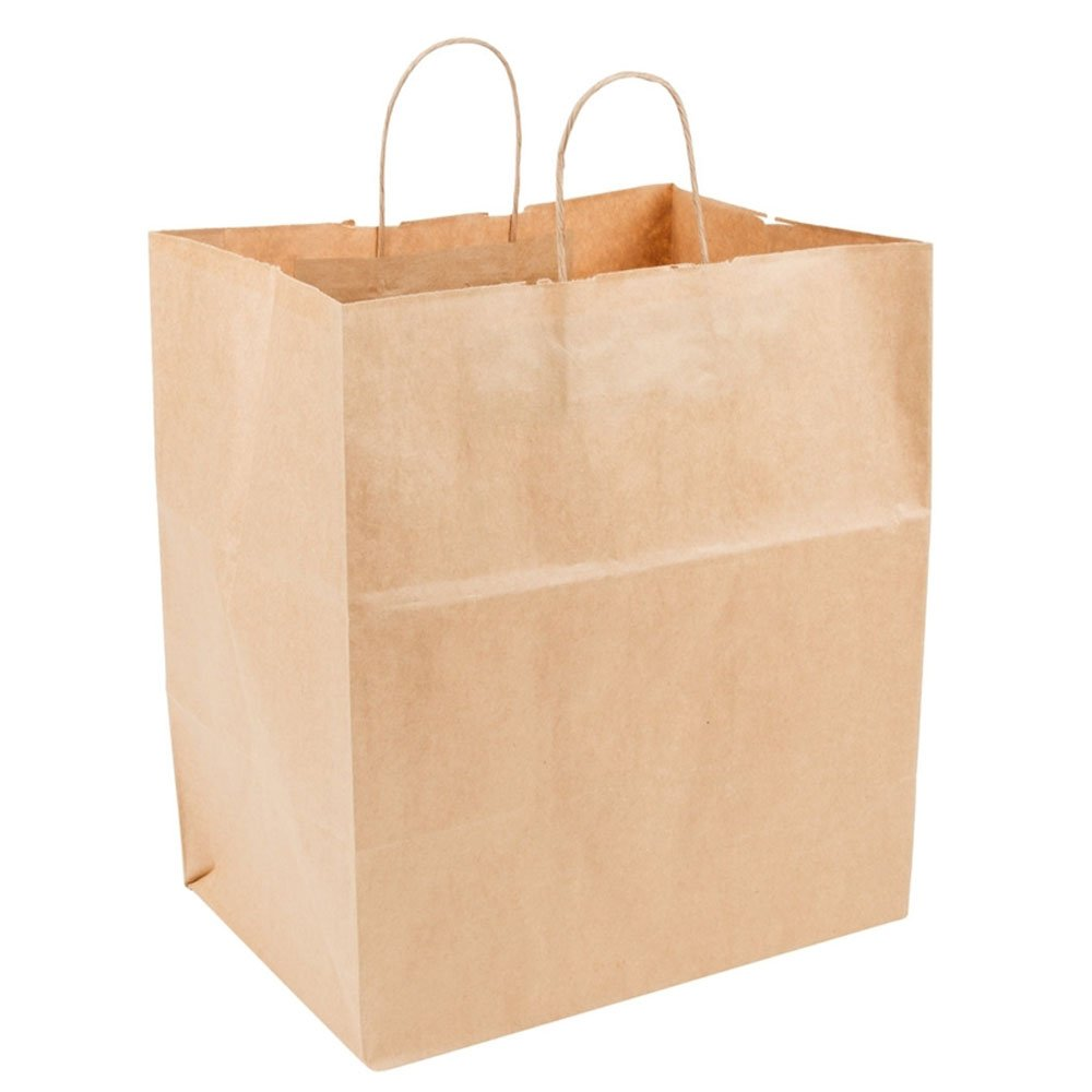 9696358eaeb Amazon.com  Recycled 14 x 9 x 16 Natural Brown Kraft Cub Paper Shopping Bags  - Pack 200  Industrial   Scientific