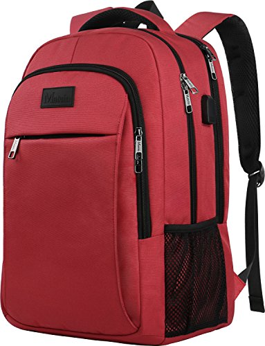 Laptop Backpack for Girls, Womens High School Backpack with USB Port for School Supplies and College Accessories, Water Resistant Travel Daypack Cute Book Bag for Teens and Ladies Fit 15.6 (Red Camera Backpack)