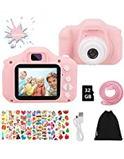 HOWAF Kids Camera, Pink Children Digital Camera for Girls with Game 2.0 inch HD 1080P Toys Camera Toddler Video Recorder Boys Girls 4-8 9+ Year Old Birthday Gifts, with 32GB SD Card, Bag, Stickers