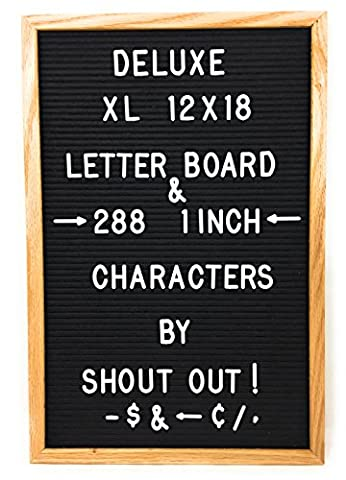 Black Felt Letter Board with 288 White Letters Number and Punctuation, Premium Solid Oak Frame Changeable Signs Letters Display Any Message, 12 x 18 Inches by Shout - Message Board Letter