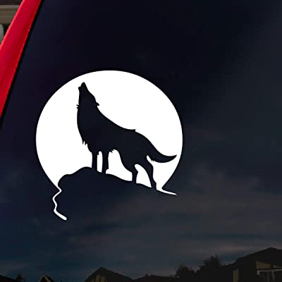 "SoCoolDesign Howling Wolf Moon Car Window Vinyl Decal Sticker 5"" Wide (White): Automotive"