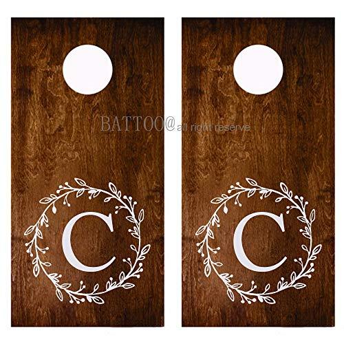 - BATTOO Personalized Wreath Wedding Monogram Decor Cornhole Decals Vinyl Decal Set for Corn Hole Board Wedding Gift 18