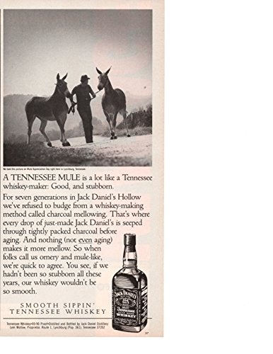 """Magazine Print ad: 1987 Jack Daniels Old No 7 Tennessee Whiskey,""""A Tennessee Mule is a lot like a Tennessee Whiskey-Maker: Good, and Stubborn"""""""""""
