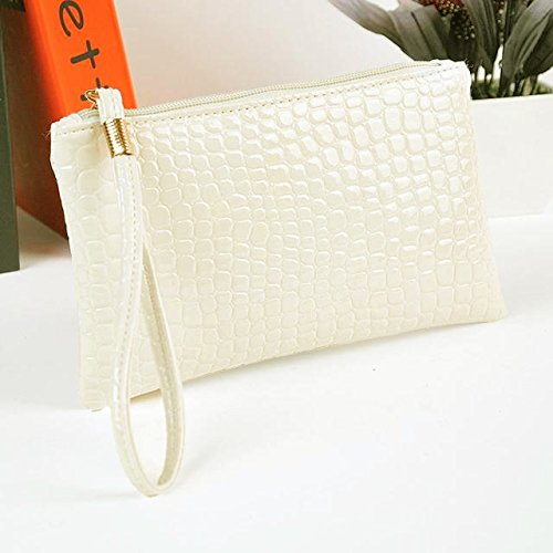 Crocodile Women Women Clutch Purse Leather Kinrui Purse Bag Coin Handbag White qwtRTx4x