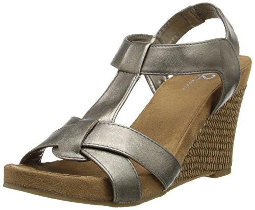 A2 by Aerosoles Women's Photo Plush Wedge Sandal, Silver/Metallic, 9.5 M US