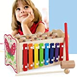 AMOFINY Baby Toys Multi-Function Music Knocking On The Piano and Playing Hamster Toys Musical Toy Dual Functions Animal Themed Wooden Piano and Pounding and Roll