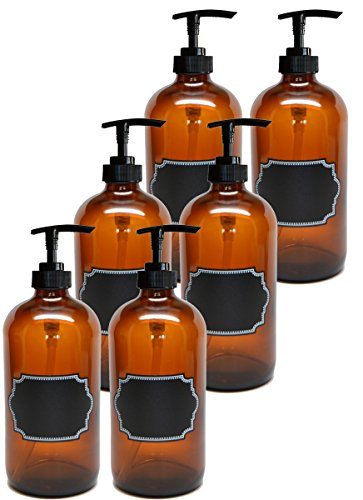 Firefly Craft 6 Pack Amber Glass Bottles with Pump and Chalkboard Labels, 16 Ounces - Ounce Pack 16 Each