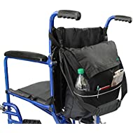Wheelchair Bag by Vive - Accessory Storage Bag for Carrying Loose Items & Accessories - Travel Storage Tote & Backpack w/Accessible Pouch & Pockets, Black