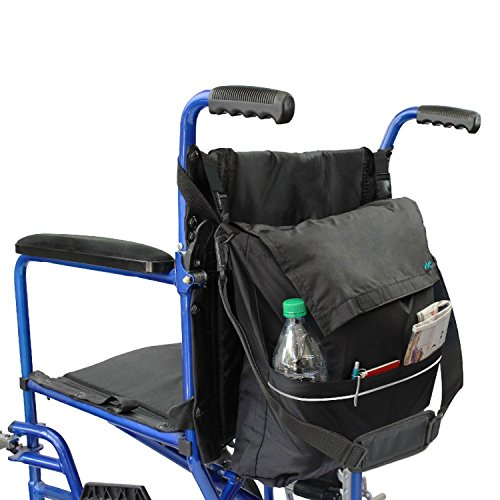 - Vive Wheelchair Bag - Wheel Chair Storage Tote Accessory for Carrying Loose Items and Accessories - Travel Messenger Backpack for Men, Women, Handicap, Elderly - Accessible Pouch and Pockets, Black