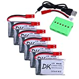 Digital-kingdom 6 pcs 3.7v 850mAh 25c Upgrade Lipo Battery JST Plug with X6 Charger for MJX X400 X400W X800 X300C Sky Viper S670 V950hd V950str HS200W National Geographic Quadcopter Drone
