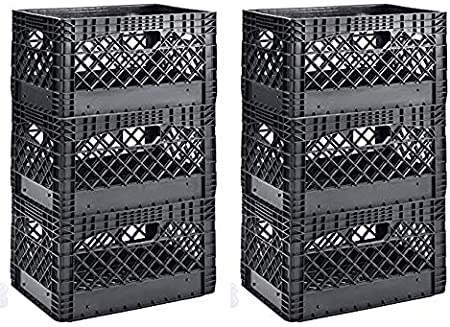 19 Width Muscle Rack PMK24QTB-3 24 Quart Black Heavy Duty Rectangular Stackable Dairy Milk Crates 2 X Pack of 3 11 Height