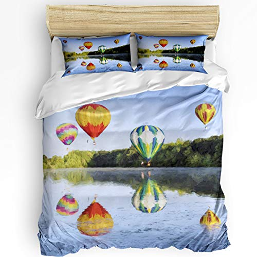 - YEHO Art Gallery Queen Size Luxury 3 Piece Duvet Cover Sets for Boys Girls,Hot air Balloon Over The Lake and its Reflection Bedding Set,Include 1 Comforter Cover with 2 Pillow Cases
