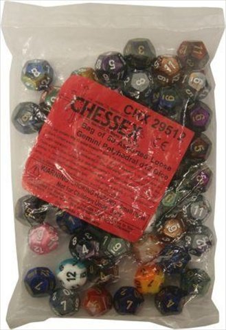 Chessex Manufacturing 29512 Gemini Poly D12 Assorted Dice, Bag - 50 by Chessex Manufacturing