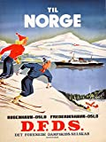 CANVAS Oslo Norway Norge Ski Skiing Steam Boat Ship Winter Sport Travel Vintage Poster Repro 12'' X 16'' Image Size ON CANVAS SHIPPED ROLLED