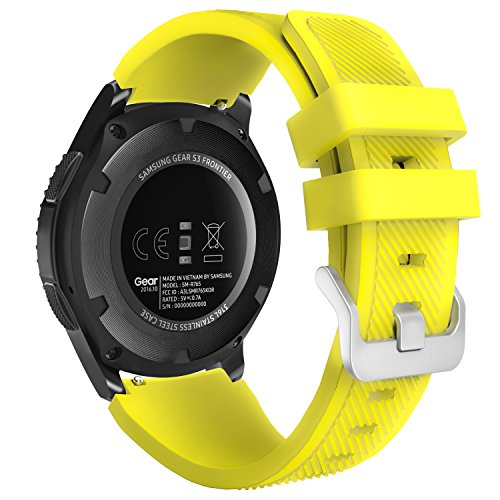 MoKo Gear S3 Frontier/Classic Watch Band, Soft Silicone Replacement Sport Strap for Samsung Gear S3 Frontier / S3 Classic/Galaxy Watch 46mm / Moto 360 2nd Gen 46mm Smart Watch, Yellow