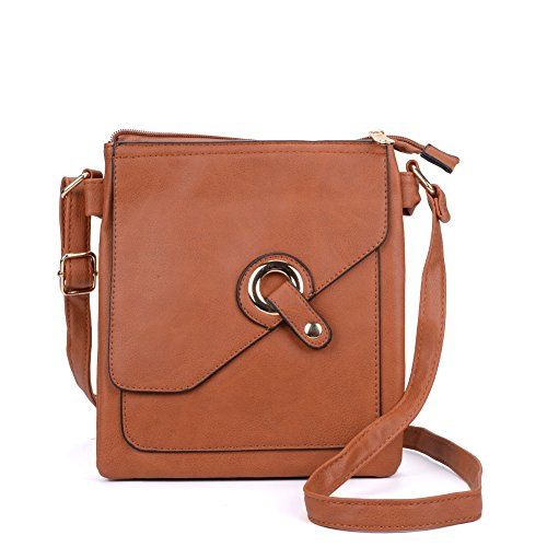 SALLY YOUNG Fashion Women High Quality PU Leather Across Body Bag With Strap Tan