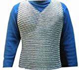 Queen Brass Sleeveless Chainmail Shirt, Medieval Chain Mail Vest, Armor Chainmaille Vest Standard Silver