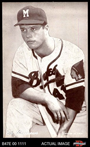 1947 Exhibits ERR Eddie Mathews Boston Braves (Baseball Card) (Name Spelled Matthews) Dean's Cards 5 - EX Braves - Mathews Baseball Card
