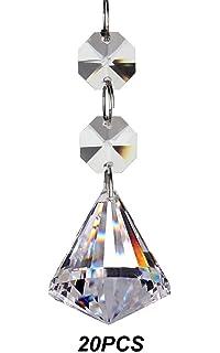 Clear acrylic chandelier drops pkg of 112 amazon home kitchen fushing 20pcs crystal chandelier prisms pendants balls suncatchers crystal garland beads30mm clear aloadofball Images