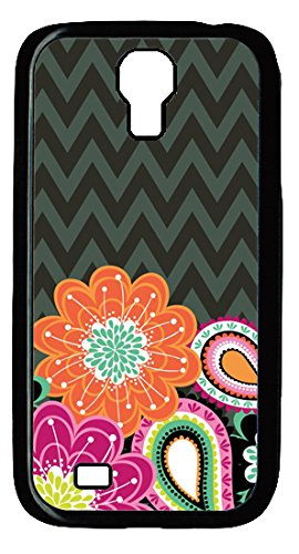 Ziggy Zinnia Flowers Stripes Pattern Design for Samsung Galaxy S4 I9500 Case in PC Black Material(K One)