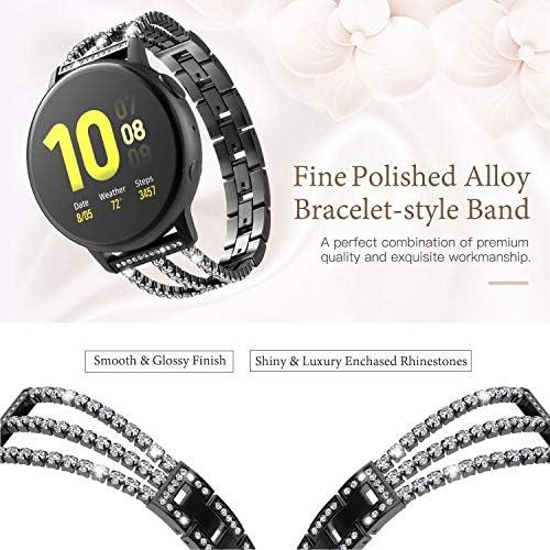 TiMOVO Replacement Band Compatible with Galaxy Watch Active/Active 2, 20mm Stylish Rhinestone Watch Replacement Strap Fit Galaxy Watch 42mm/Gear Sport/Garmin Vivomove/HR/Vivoactive 3 – Black 510 tMNHqZL