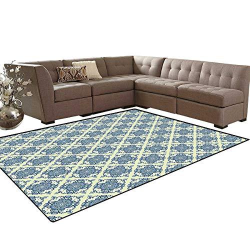 (Vintage Kids Carpet Play-mat Rug Curvy Repeating Floral Motifs in Squares Mandala Style Pattern Room Home Bedroom Carpet Floor Mat 6'6