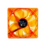 APEVIA AF212L-OG 120mm 4pin Molex + 3pin Motherboard Silent Orange LED Case Fan (2-pk)