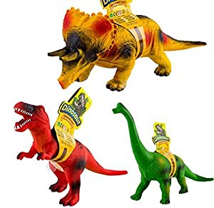 Amazon Com Deao Large Soft Foam Stuffed Rubber Dinosaur Toy Figures Set Of 3 With Sound Effect Approx 37cm By Deao Beauty