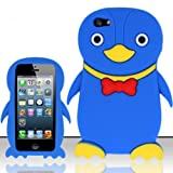 For iPhone 5 (AT&T/Sprint/Verizon/Cricket) Penguin 3D Design Silicon Case - Blue SCPNG