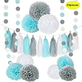 Arts & Crafts : CHOTIKA 23pcs Tissue Flowers Pom Pom Poms Baby Blue White Grey Baby Boy Shower/Party Paper Decorations First Birthday Boy Tissue Flowers Tassel Garland Circle Paper Baby Shower Decorations Boy