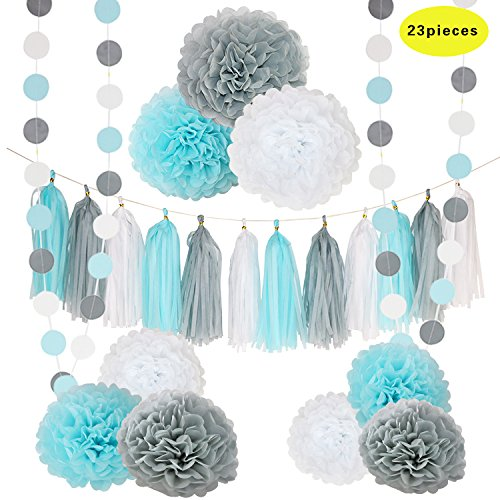 CHOTIKA 23pcs Tissue Flowers Pom Pom Poms Baby Blue White Grey Baby Boy Shower/Party Paper Decorations First Birthday Boy Tissue Flowers Tassel Garland Circle Paper Baby Shower Decorations Boy - Baby Shower Deco