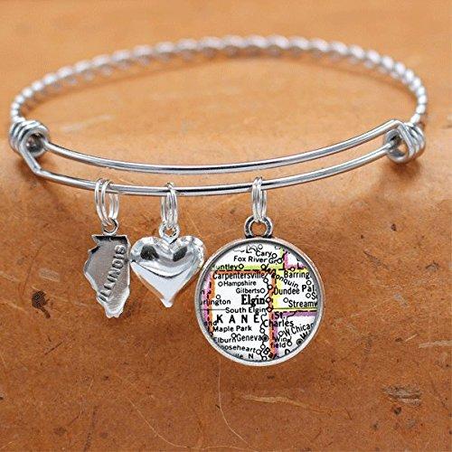 - Map Bracelet Elgin IL State of Illinois Vintage Map Jewelry Charm Bracelet