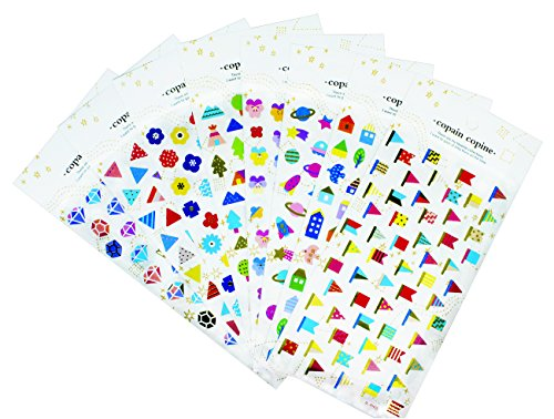 Kids Petal Cars (Multi Color Stickers 8 Sheets with Petal, Diamond, Planet and Triangle Gold Foil Stickers for Kids Tenns - 400 Stickers)