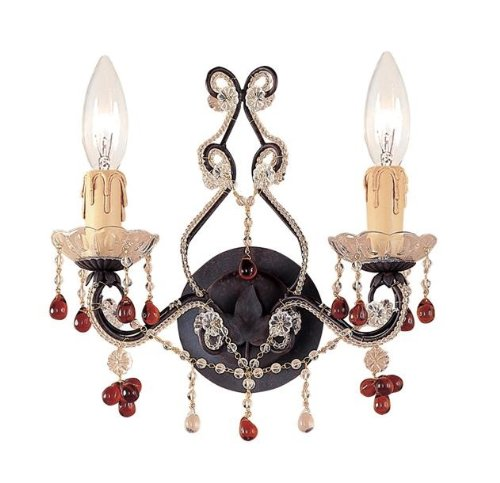 - 4522-DR Paris Flea Market 2LT Wall Sconce, Dark Rust Finish with Clear and Amber Beads