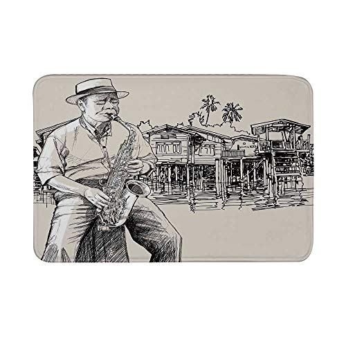 Jazz Music Non Slip Door Mat,Art with Jazz Saxophonist Playing at River Bank Palm Trees Bungalow Reflection Floor Mat for Bathroom Living Room,23