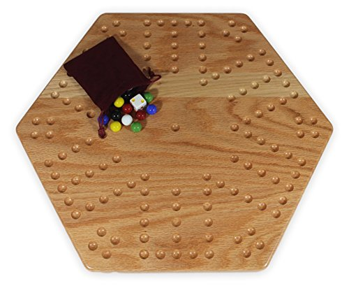"""Solid Oak Double-sided Aggravation  Board Game Set, 16"""" Wide"""