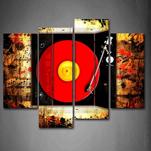 Record In Red And Buttons Of Studio Wall Art Painting Pictures Print On Canvas Music The Picture For Home Modern Decoration Abstract Button