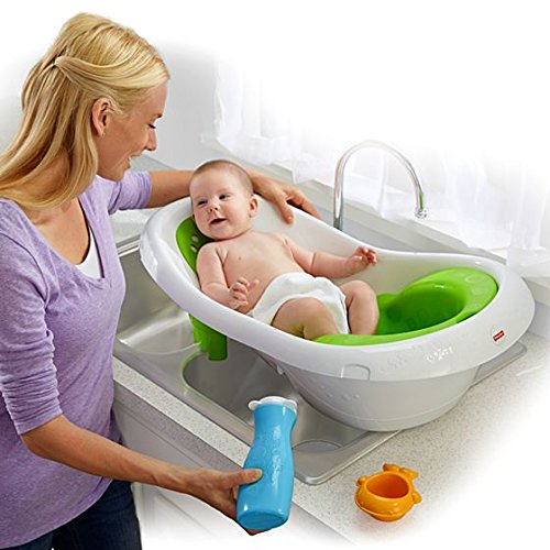 Fisher-Price 4-in-1 Grow-with-Me Newborn-to-Toddler Baby Bathtub, Lime
