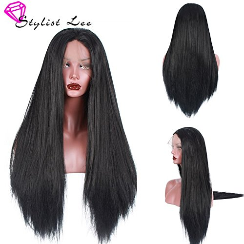 Free Lace Front Wigs (Stylistlee Italian Yaki Straight Synthetic Lace Front Wigs 250% High Density Free Part Heat Resistant Fiber Wig For Women (26
