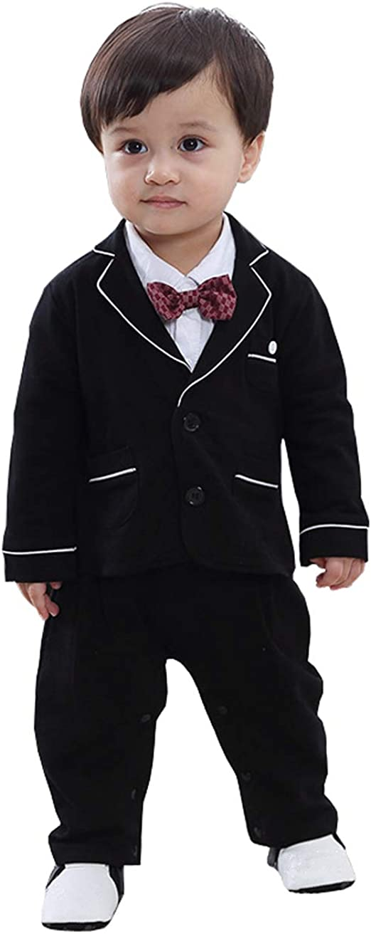 Anzug Mantel Gentleman Langarm Fliege Hochzeit Taufgeschenk Bowknot Dunkelblau Gr/ö/ße 70 cool elves 2tlg Baby-Jungen Bekleidungssets Strampler