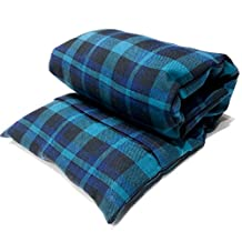 """Large microwavable flax heating pad, The """"Flax Sak"""" Hot/cold pack with removable/washable cover (Teal, Black & Blue Plaid)"""
