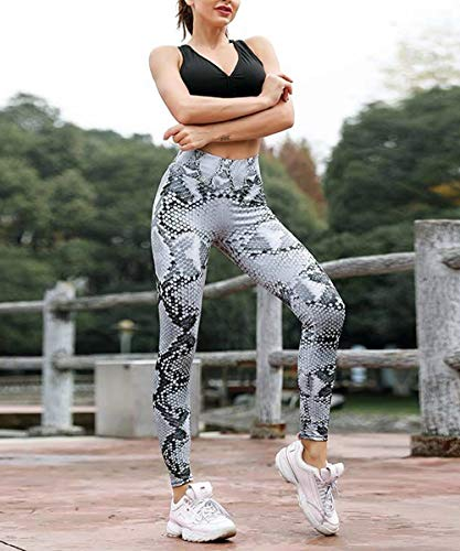 CFR Women's Printed Yoga Pants Gym Sport Workout Leggings High Waist Sexy Elastic Comfy Tights 2 Snake Print M