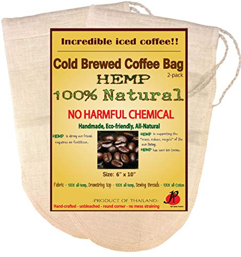 (Reusable Cold Brew Coffee Filter bags by P&F(2 Pack) | FULL TASTE | NO HARMFUL CHEMICAL IN YOUR COFFEE ANYMORE | Strainer Socks for Cold Brewed Iced Coffee Maker | Fits 64oz Ball Mason Jar)