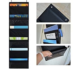 Godery Over the Door hanging File Folders Organizer, Fabric Office Supplies Storage Organizer, Wall Mount Pocket Chart Storage for School ,Classroom, Home, Closet , 6 Pockets (Black)