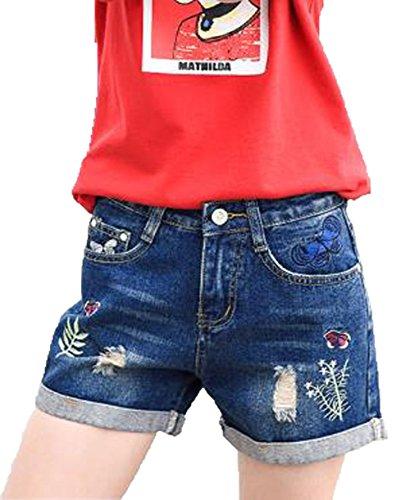 暴徒パブ合計AIJUAN レディース 夏服 半ズボン ゆったり ワイドパンツ ダメージ オシャレ ズボン ショート 刺繍 カジュアル 薄手 ショートパンツ たんパン ホットパンツ デニム ファッション
